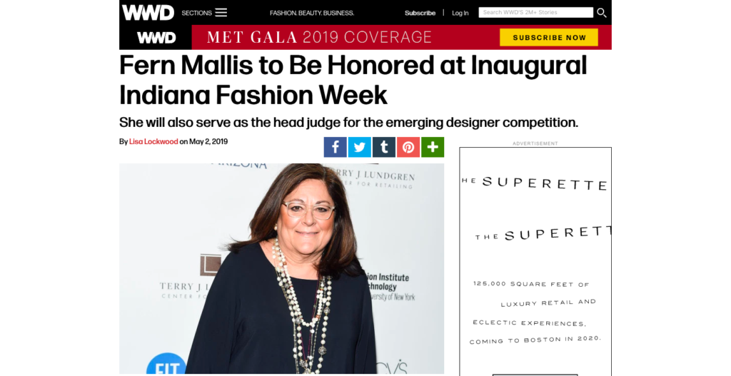 Fern Mallis to be Honored at Inaugural Indiana Fashion Week